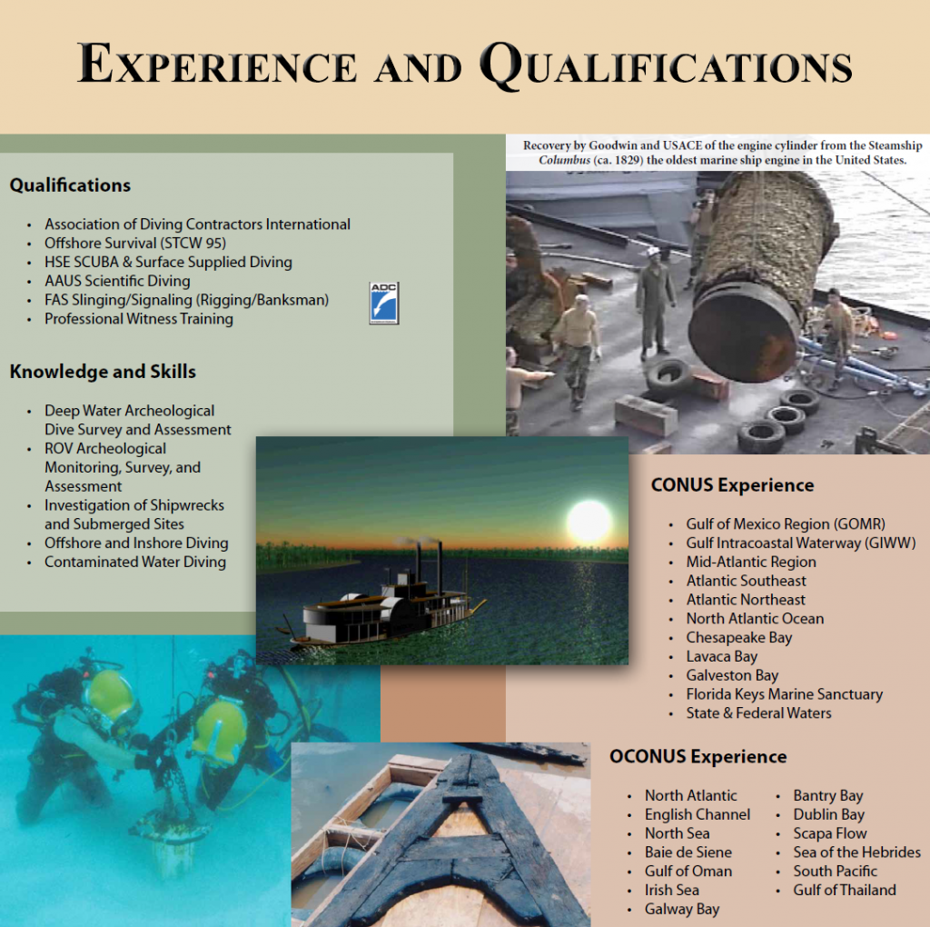 Experience and Qualifications | Cultural Resource Management Services and Nautical Archaeology